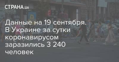 Данные на 19 сентября. В Украине за сутки коронавирусом заразились 3 240 человек