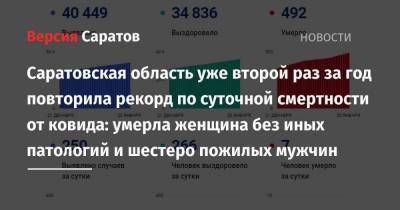 Саратовская область уже второй раз за год повторила рекорд по суточной смертности от ковида: умерла женщина без иных патологий и шестеро пожилых мужчин