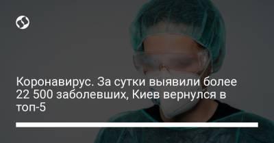 Коронавирус. За сутки выявили более 22 500 заболевших, Киев вернулся в топ-5