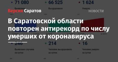В Саратовской области повторен антирекорд по числу умерших от коронавируса